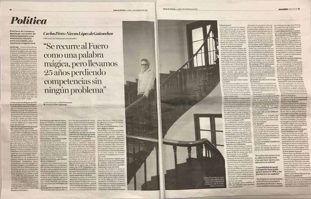 Entrevista Diario de Noticias a Carlos Pérez-Nievas